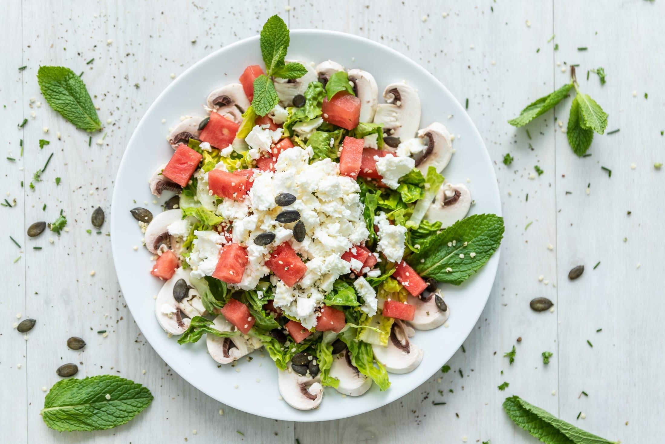 low Carb Champignon-Wassermelonen-Salat