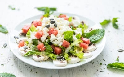 sommerlicher Low Carb Wassermelonen-Feta-Salat