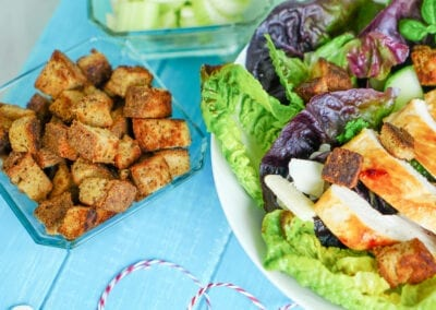 Cesar Salad mit Low Carb Croutons
